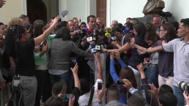 the ambassadors of france united kingdom italy germany and spain express their support to opposition leader juan guaido and his call to let... - attending stock videos and b-roll footage