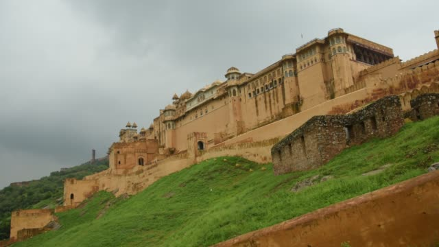 the amer palace or fort in rainy day, jaipur, india. - amber stock videos & royalty-free footage