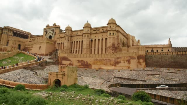 the amer palace or fort, unesco world heritage site, jaipur, india. - fortress stock videos & royalty-free footage