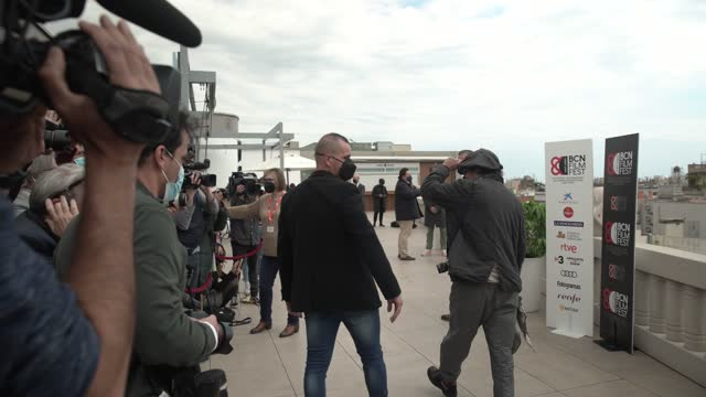 the american actor johnny depp says goodbye to the press during a photocall to present 'the minamata photographer' during the 5th bcn film festival's... - photo call stock videos & royalty-free footage