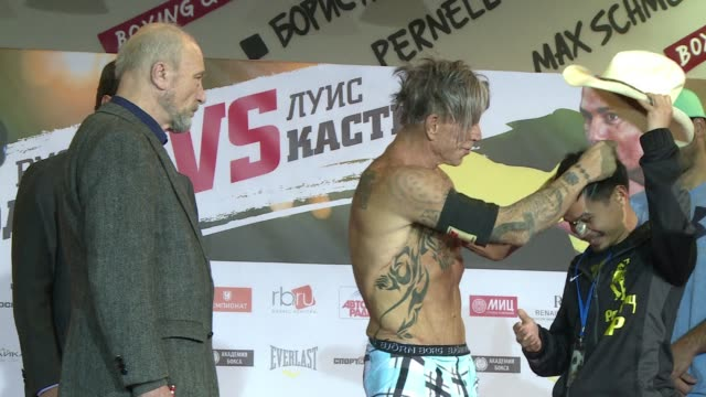 the american actor mickey rourke will revive his boxing career at the age of 62 and take to the ring with the us professional boxer elliott seymour... - mickey rourke actor stock videos & royalty-free footage