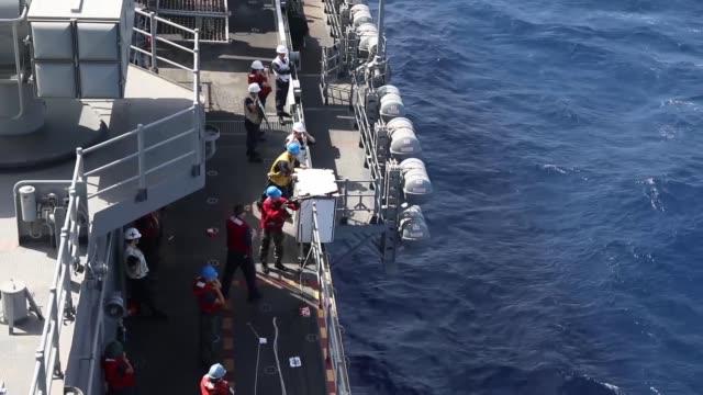 The amphibious assault ship USS Bataan conducts a replenishmentatsea alongside fleet replenishment oiler USNS Laramie Bataan and its ready group are...
