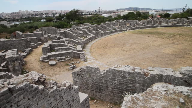 the amphitheater from the 2nd century a.d. salona - amphitheater stock videos & royalty-free footage