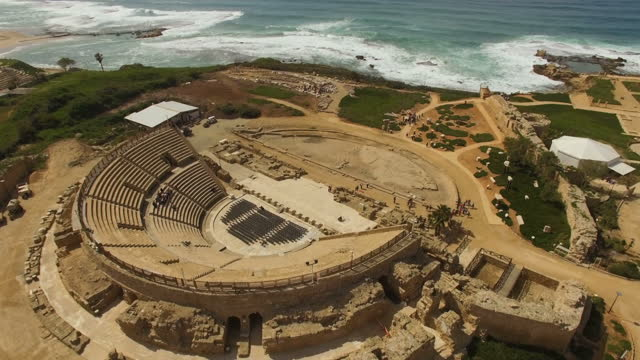 the amphitheatre built by herod the great, ancient caesarea, israel - caesarea stock videos & royalty-free footage