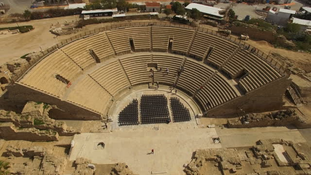 vídeos y material grabado en eventos de stock de the amphitheatre built by herod the great, ancient caesarea, israel - en ruinas
