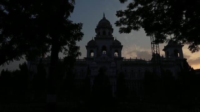 The Andhra Pradesh State Assembly building stands in Hyderabad India on Tuesday March 11 Wide shot silhouette of the Andhra Pradesh State Assembly...