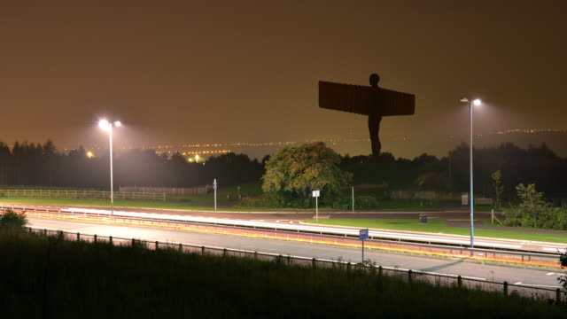 the angel of the north a contemporary sculpture designed by sir antony gormley - gateshead stock videos and b-roll footage