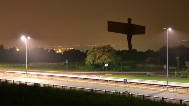 the angel of the north a contemporary sculpture designed by sir antony gormley - angel of the north stock videos and b-roll footage