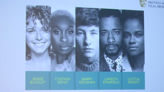 the announcement of the five nominees for the ee rising star award at the 2019 ee british academy film awards held at bafta in piccadilly interviews... - letitia wright stock videos and b-roll footage