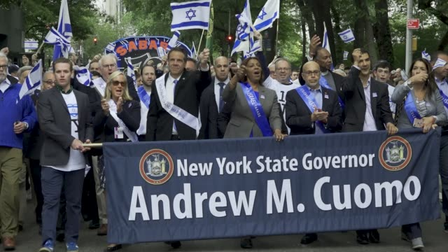 the annual celebrate israel parade on manhattan's 5th avenue in new york city celebrates the 70th anniversary of the founding of the state of israel... - andrew cuomo stock videos and b-roll footage