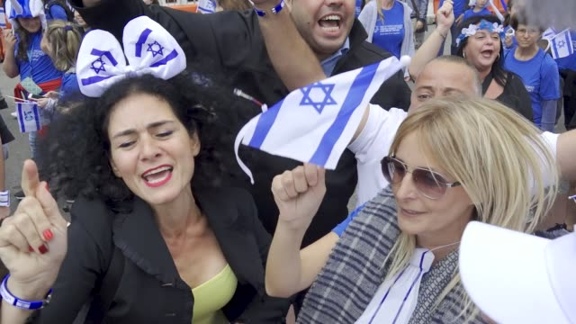 the annual celebrate israel parade on manhattan's 5th avenue in new york city celebrates the 70th anniversary of the founding of the state of israel... - demonstration stock videos & royalty-free footage