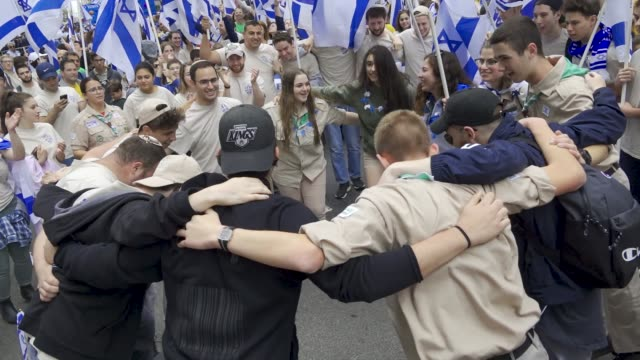 the annual celebrate israel parade on manhattan's 5th avenue in new york city celebrates the 70th anniversary of the founding of the state of israel... - scout association stock videos & royalty-free footage