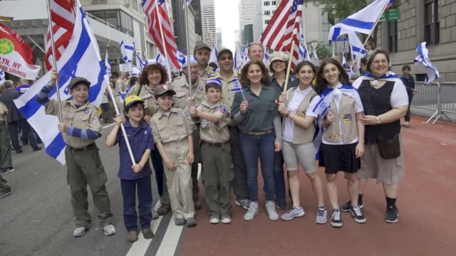 the annual celebrate israel parade on manhattan's 5th avenue in new york city celebrates the 70th anniversary of the founding of the state of israel... - boy scouts of america stock videos and b-roll footage