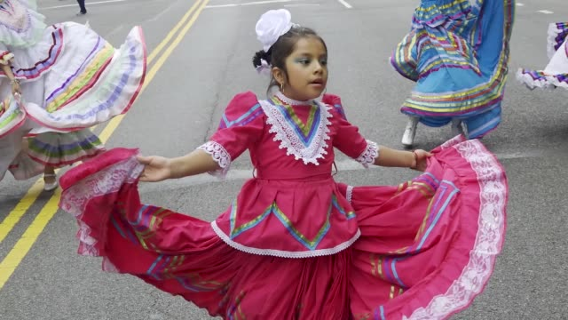 the annual cinco de mayo parade via the upper west side in manhattan. cinco de mayo commemorates the mexican army's unlikely victory over the french... - parade stock videos & royalty-free footage