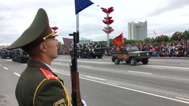 the annual independence day parade takes place on july 3 2017 in minsk belarus the parade included around 6000 military personnel 500 vehicles and... - belarus stock videos & royalty-free footage