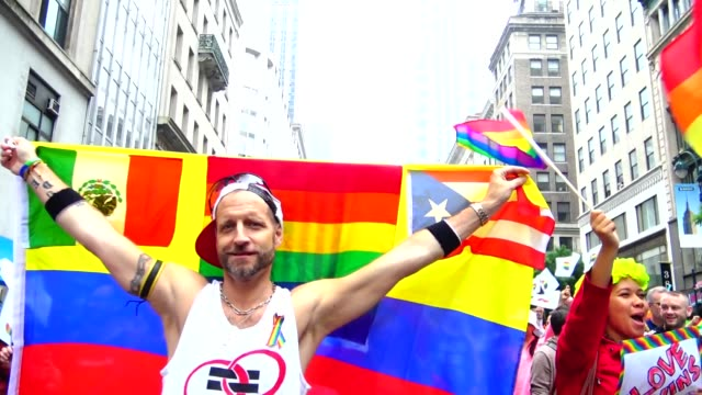 the annual new york city gay pride parade / the parade celebrates the supreme court decision to legalized same-sex marriage across the united states... - 2015 stock videos & royalty-free footage