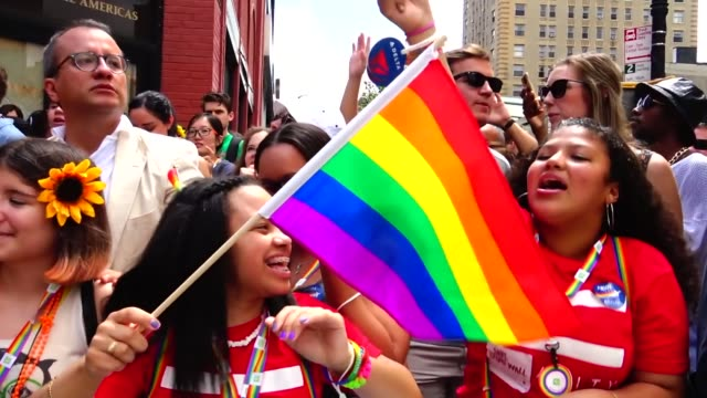 the annual new york city gay pride parade / the parade celebrates the supreme court decision to legalized samesex marriage across the united states /... - supreme court stock videos & royalty-free footage