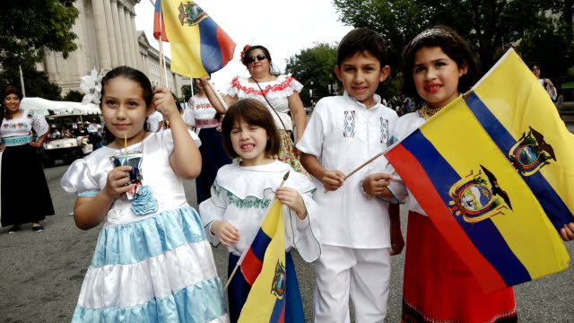 the annual parade of nations via constitution avenue in washington dc other cities like new york city have a very similar event titled 'desfile del... - ecuadorian ethnicity stock videos & royalty-free footage