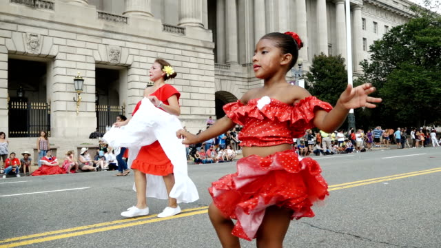 the annual parade of nations via constitution avenue in washington dc other cities like new york city have a very similar event titled 'desfile del... - día stock videos & royalty-free footage