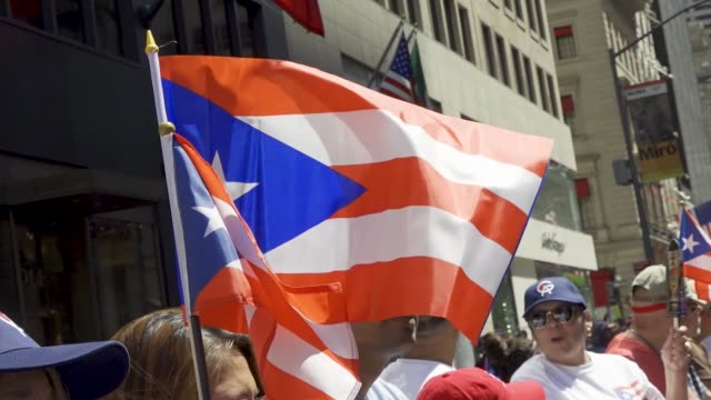 the annual puerto rican day parade via 5th avenue in manhattan, new york city, usa. . - puerto rican ethnicity stock videos & royalty-free footage