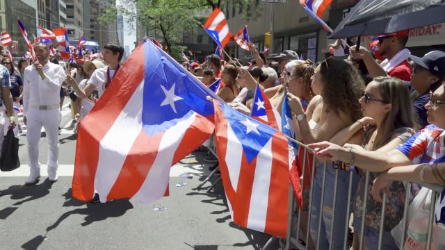 the annual puerto rican day parade via 5th avenue in manhattan new york city usa - puerto rican ethnicity stock videos & royalty-free footage
