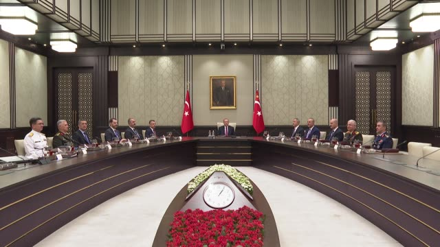 the annual summer meeting of turkey's supreme military council began on thursday under the chairmanship of president recep tayyip erdogan at the... - annual general meeting stock videos & royalty-free footage