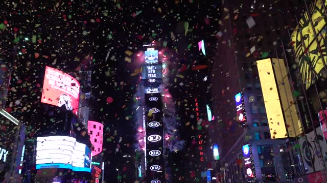 the annual times square countdown to 2021 new year usually draws millions of spectators. ball drop and confetti falls on empty streets due to covid... - new york state stock videos & royalty-free footage