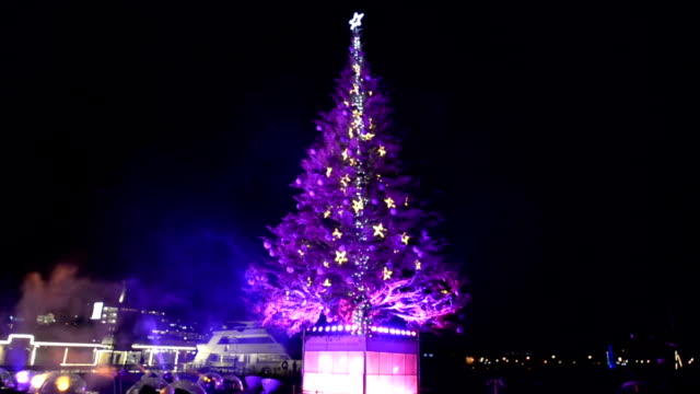 The annual winter event Hakodate Christmas Fantasy began on November 28 in Hakodate Hokkaido Red white and green lights covering the giant fir tree...