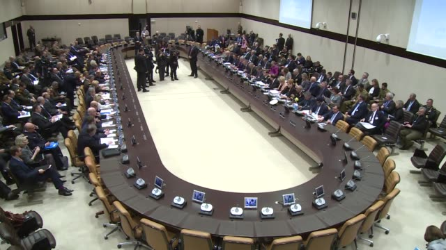 The AntiDaesh Coalition meeting is held on the second day of the NATO Defense Ministers meeting at NATO headquarters in Brussels Belgium on February...