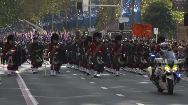 the anzac day parade on april 25, 2017 in sydney, australia. australians commemorating 101 years since the australian and new zealand army corp... - anzac day stock videos & royalty-free footage