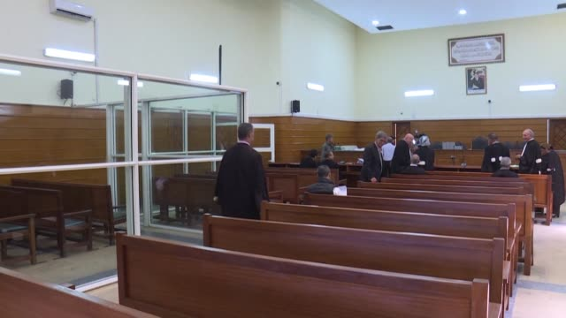 stockvideo's en b-roll-footage met the appeal trial of 24 men convicted over the beheadings of two young scandinavian briefly resumed in morocco's sale before it was postponed to the... - sale