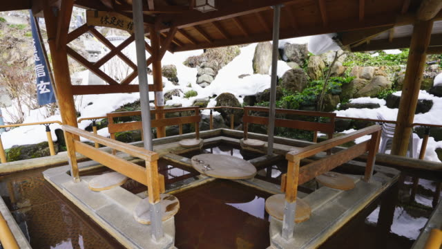 the appearance of the hot spring footbath called shingen ashiyu (kyusokudokoro shingen), which is located outside beside the alley at north edge of shibu onsen town (shibu hot spring) yamanouchi, yudanaka nagano japan on feb. 21 2019. - jigokudani monkey park stock videos & royalty-free footage
