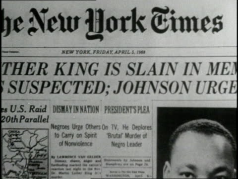 vídeos de stock, filmes e b-roll de the april 5 edition of the new york times announces the assassination of the rev martin luther king jr - primeira página de jornal