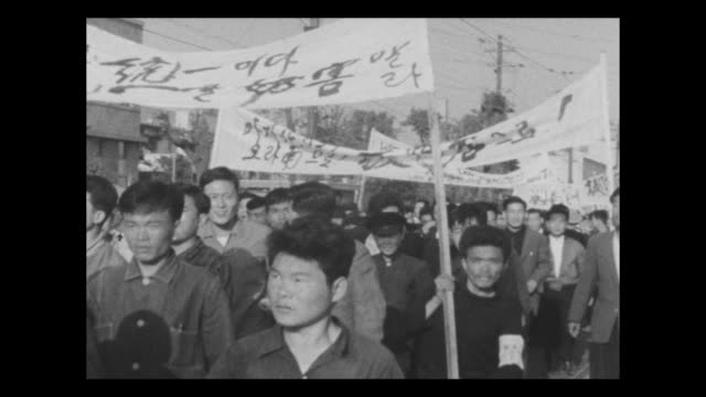 the april revolution sometimes called the april 19 revolution or april 19 movement was a popular uprising in april 1960 led by labor and student... - peace demonstration stock videos and b-roll footage