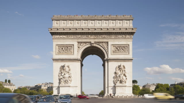 the arc de triomphe and place charles de gaulle, paris. - arc de triomphe paris stock videos & royalty-free footage