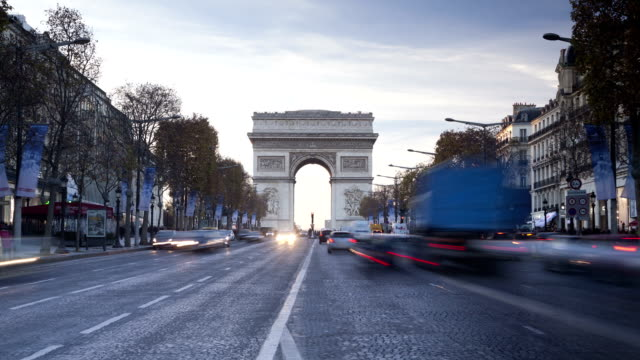 The Arc de Triomphe on the Champs Elysees in Paris, France.