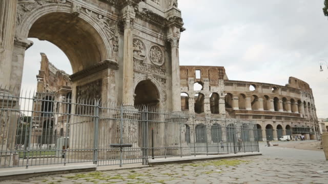 the arch of constantine and the coliseum of rome - arch of constantine stock videos and b-roll footage