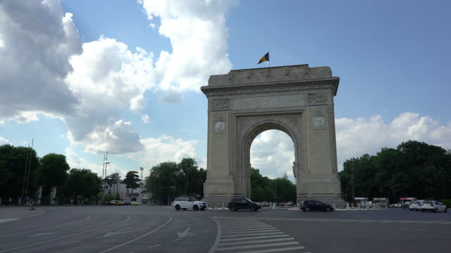 the arch of triumph in bucharest - arch architectural feature stock videos and b-roll footage