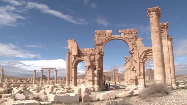the arch of triumph in palmyra was one of the monuments damaged by the islamic state group - triumphal arch stock videos & royalty-free footage