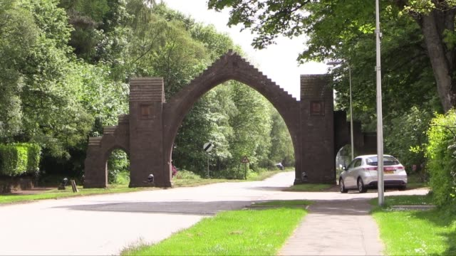 the arch was erected in 1887 to commemorate the deaths of the 13th earl of dalhousie and his wife both of whom died on the same day edzell itself is... - スコットランド ダンディー点の映像素材/bロール