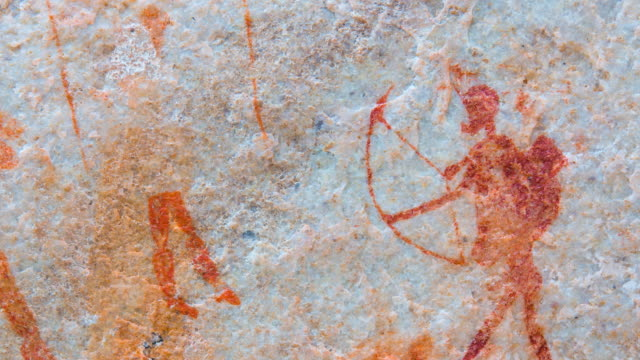 the archer, sevilla bushman rock art trail - 人の姿点の映像素材/bロール