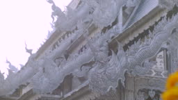 The architecture roof of the Silver temple is covered from the walls to the roof with silver in Chiang Mai.