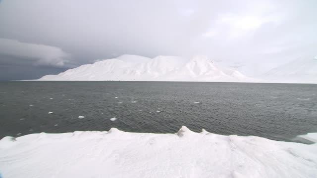 the arctic experiences its warmest winter on record the arctic experiences its warmest winter on record svalbard spitsbergen tempelfjord snow melting... - arktis stock-videos und b-roll-filmmaterial