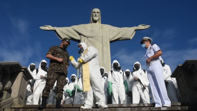 the area around christ the redeemer statue in rio de janeiro was disinfected on august 13, 2020 ahead of its re-opening coronavirus to tourists.... - south america stock videos & royalty-free footage