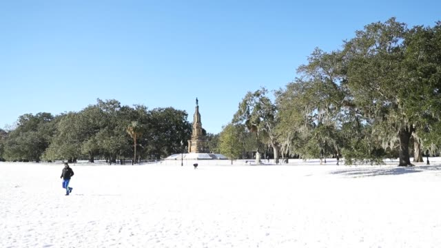 the area around savannah georgia deals with cold and snowy weather that blanket the area on january 4 2018 in savannah georgia from maine to florida... - florida us state stock videos and b-roll footage