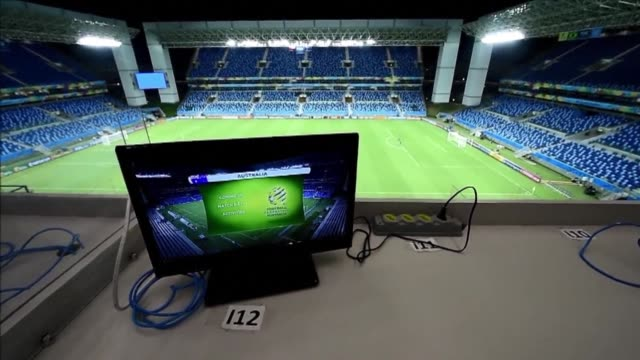 the arena pantanal stadium in cuiaba is ready to hold the world cup game between chile and australia on june 13 2014 - australian national team stock videos & royalty-free footage