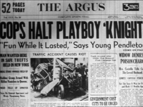 "B/W 1936 NEWSPAPER HEADLINE - ""COPS HALT PLAYBOY 'KNIGHT'"" - The Argus"