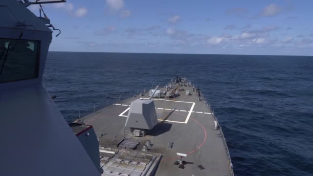 the arleigh burkeclass guidedmissile destroyer uss roosevelt fires missiles during exercise formidable shield 2019 - shield stock videos & royalty-free footage