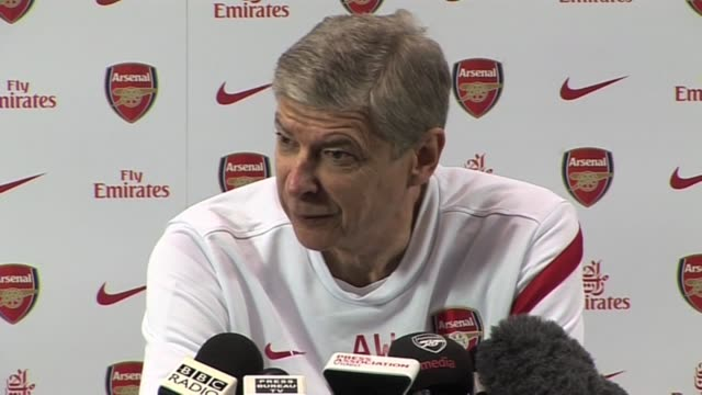 the arsenal manager arsene wenger gives hip opinion on the current race rows sepp blatter and his side's current form on november 19 2011 in london... - アーセン・ベンゲル点の映像素材/bロール