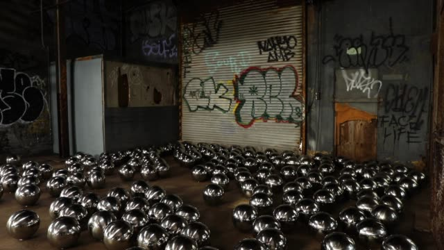 the art installation by the japanese artist yayoi kusama which is housed inside an old hurricanedamaged train garage on new york's rockaway peninsula... - installationskunst stock-videos und b-roll-filmmaterial